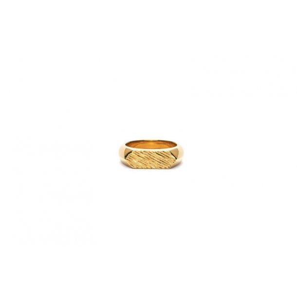 Frederik IX Mini brushed hexagon ring - DMN0307GD