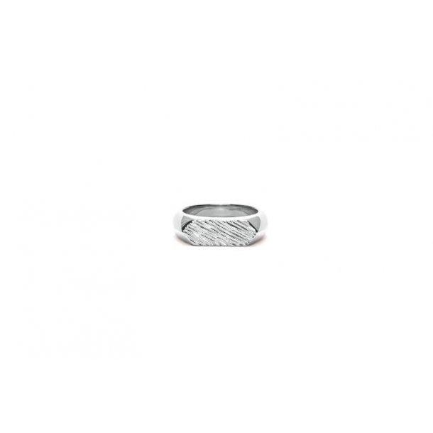 Frederik IX Mini brushed hexagon ring - DMN0307RH