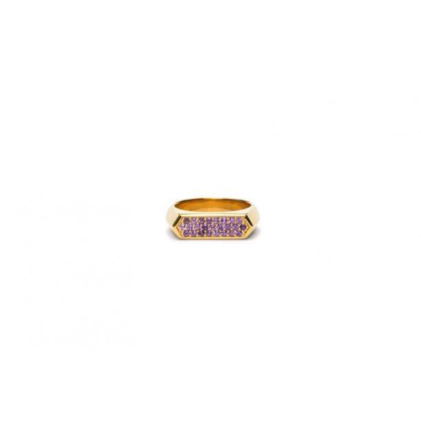 Frederik IX Mini hexagon purple ring - DMN0308GDPU