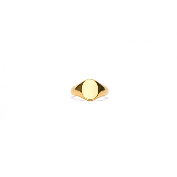 Frederik IX Mini oval signet ring - DMN0299GD