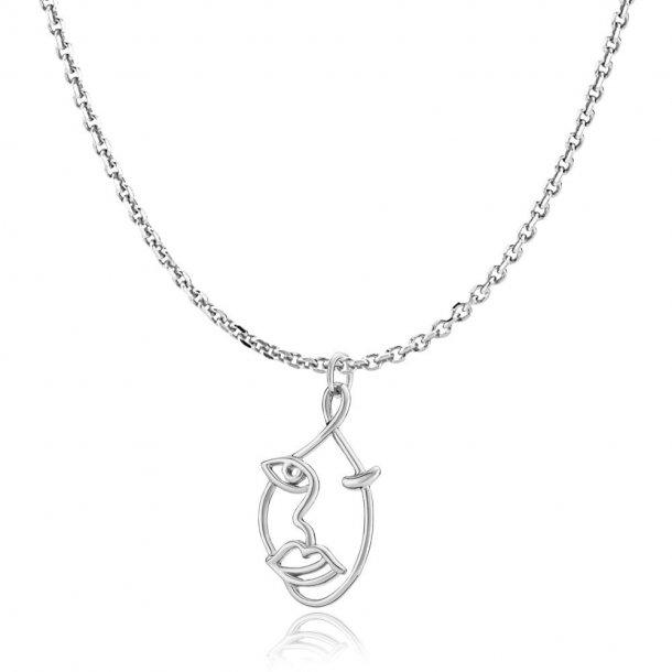 Sistie The Kiss halskæde sølv - zs20202sws45