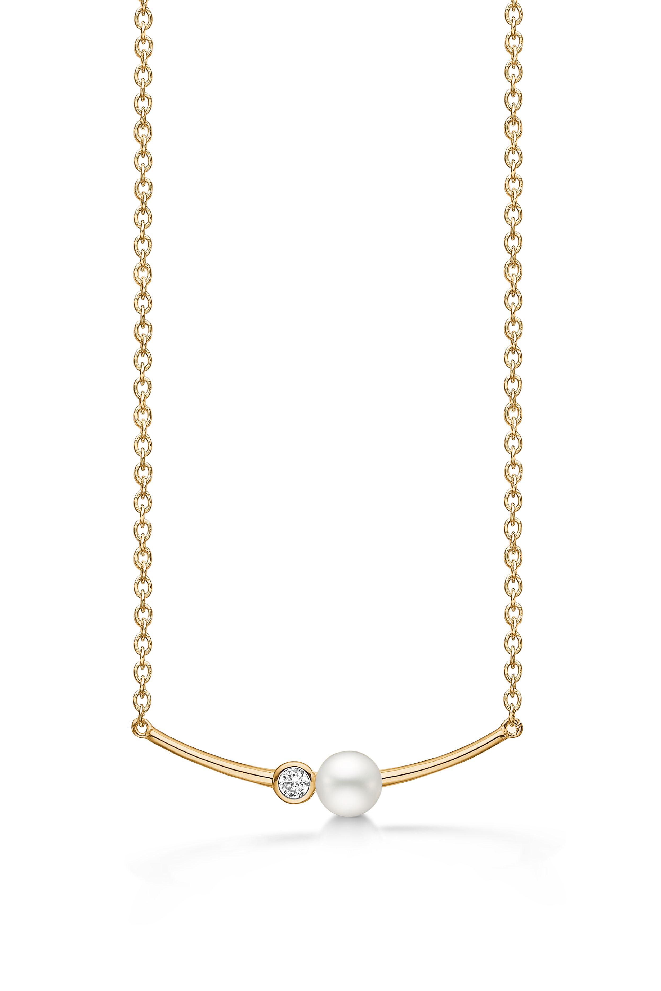 Aagaard Forgyldt sølv halssmykke med perle - 03332771-42