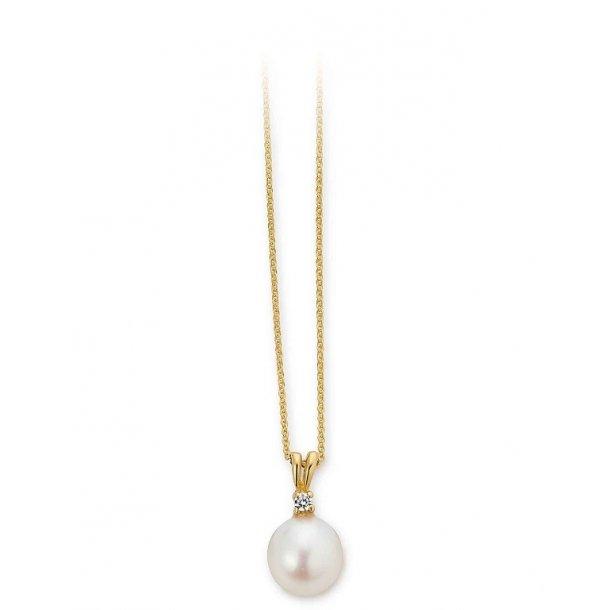 8 kt vedhæng med perle, zirkonia og forgyldt kæde - 04331552-45
