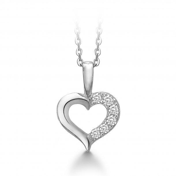 Aagaard Sølv hjerte med zirkonia og kæde - 21321611-45