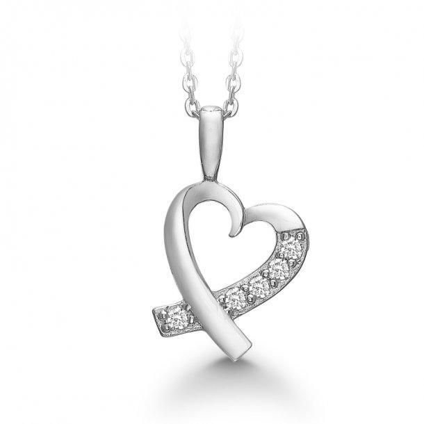 Aagaard Rhodineret sølv hjertevedhæng med kæde - 21321612-45