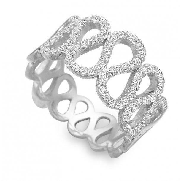 Rhodineret sølv ring med zirkonia - 21621662-75