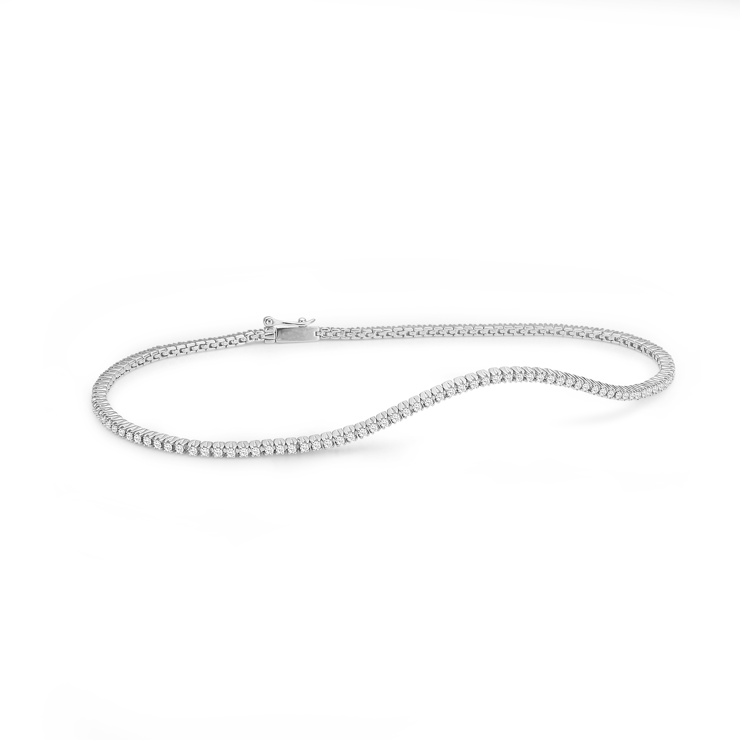 Aagaard 14 kt hvidguld armbånd med diamanter - 44101797-18 18 centimeter