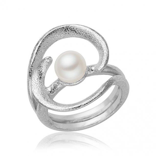 Blicher Fuglsang Sølv ring med perle - 1302-40R