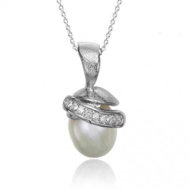 Blicher Fuglsang Sølv vedhæng med perle - 2371-40R