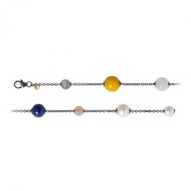Ole Lynggaard sølv armbånd med mix af sten - C0077-302