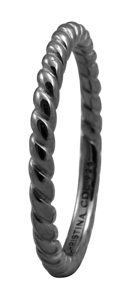 CHRISTINA Black Sølvring Rope - 0.1D Størrelse 49