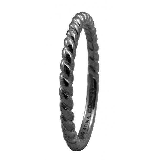 CHRISTINA Black Sølvring Rope - 0.1D
