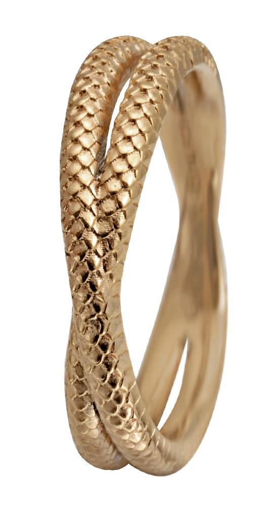 CHRISTINA Forgyldt Sølvring Twin Snake - 1.11B Størrelse 49