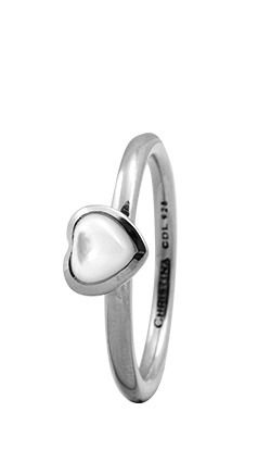 CHRISTINA Sølvring Heart - 1.3A Størrelse 49