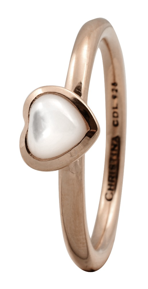CHRISTINA Rose Sølvring Heart mother of pearl - 1.3C Størrelse 49