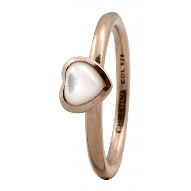 CHRISTINA Rose Sølvring Heart mother of pearl - 1.3C