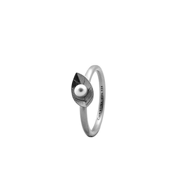CHRISTINA Sølvring Pearl Leaf - 2.1A