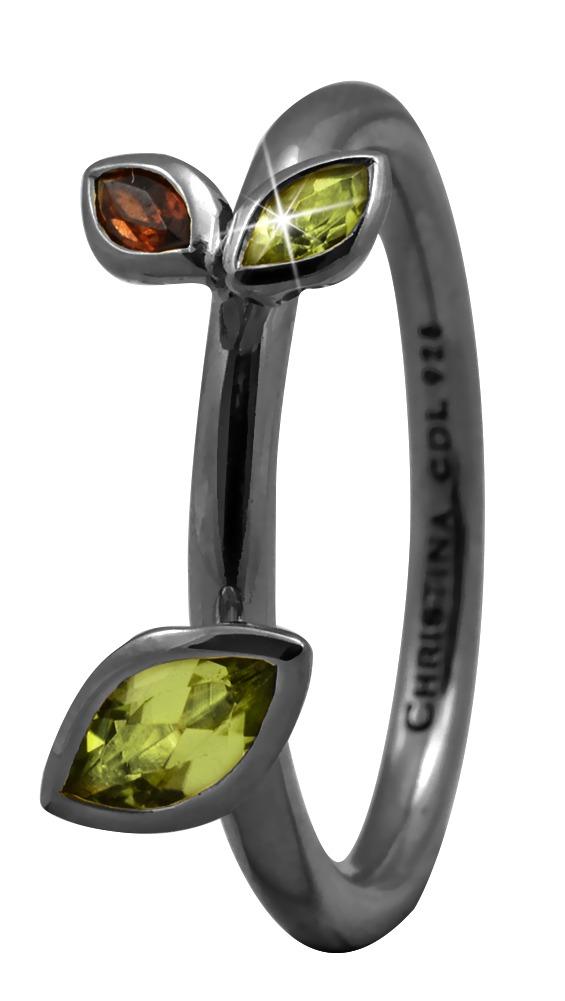 CHRISTINA Black Sølvring - 2.3D Størrelse 49