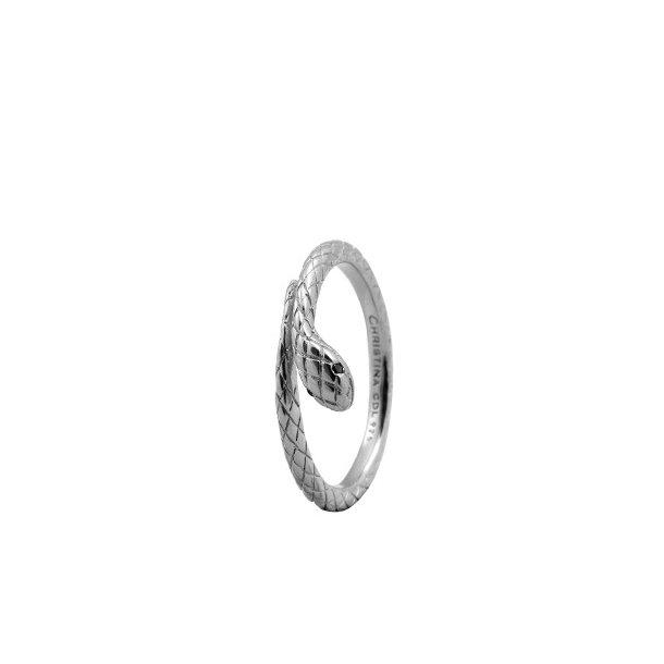CHRISTINA Sølvring Diamond Snake - 2.4A