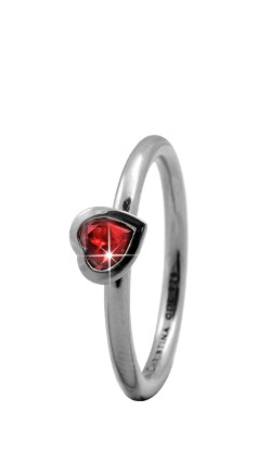 CHRISTINA Sølvring Garnet Heart - 2.6A Størrelse 49