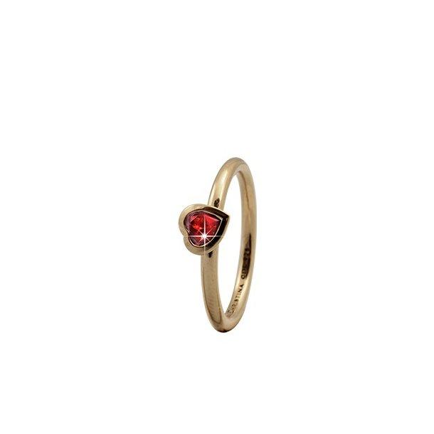 CHRISTINA Forgyldt Sølvring Garnet Heart - 2.6B