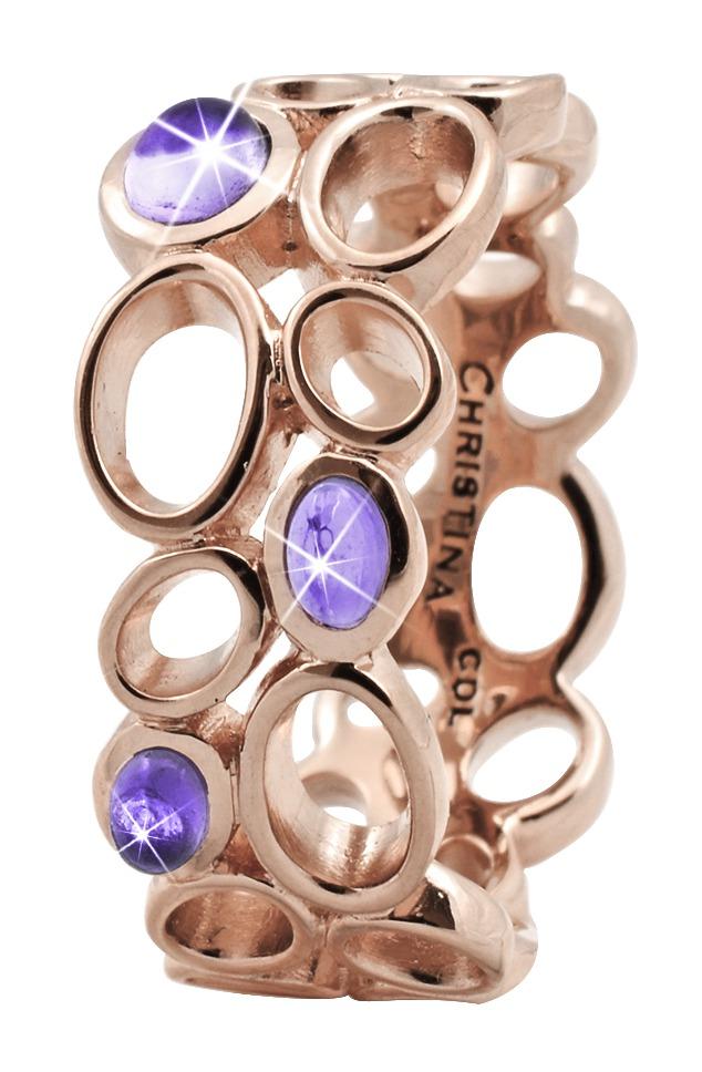 CHRISTINA Rose Sølvring Big Amethyst Bubbles - 3.10C Størrelse 49