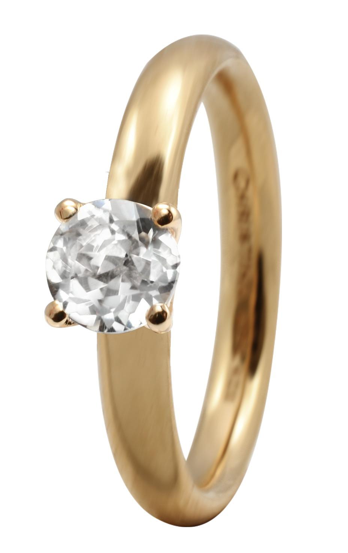CHRISTINA Forgyldt Sølvring Topaz Solitaire - 3.11B Størrelse 49