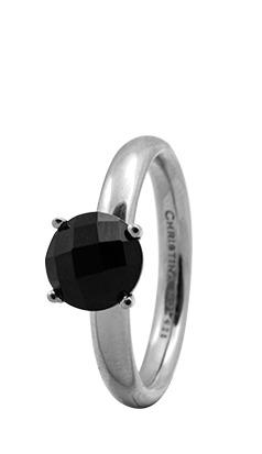 CHRISTINA Sølvring Black ONYX - 3.1A Størrelse 49