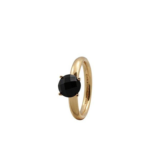 CHRISTINA Forgyldt Sølvring Black Onyx - 3.1B