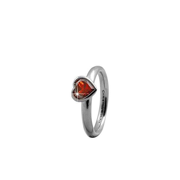CHRISTINA Sølvring Garnet Big Heart - 3.2A