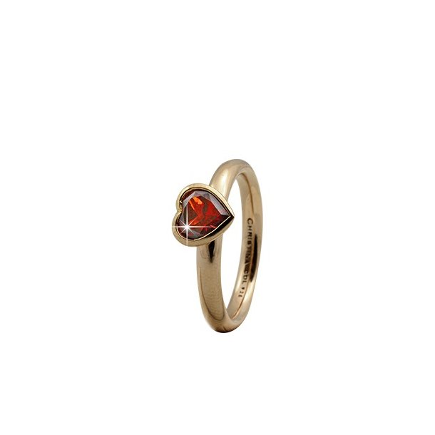 CHRISTINA Forgyldt Sølvring Garnet Big Heart - 3.2B