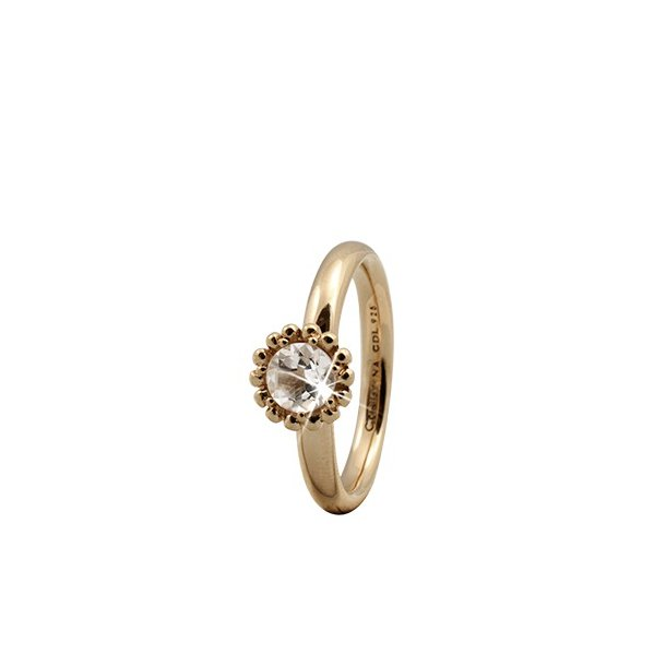 CHRISTINA Forgyldt Sølvring Crystal Flower - 3.5B