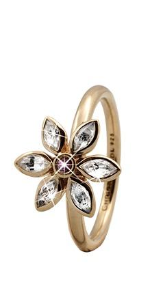 CHRISTINA Forgyldt Sølvring Marquise Flower - 3.6B Størrelse 49