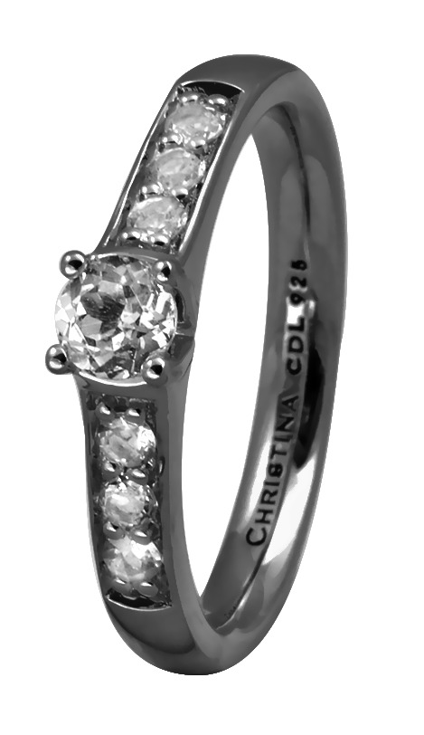 CHRISTINA Black Sølvring - 3.8D Størrelse 49