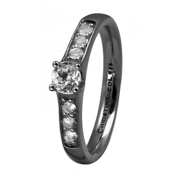 CHRISTINA Black Sølvring - 3.8D