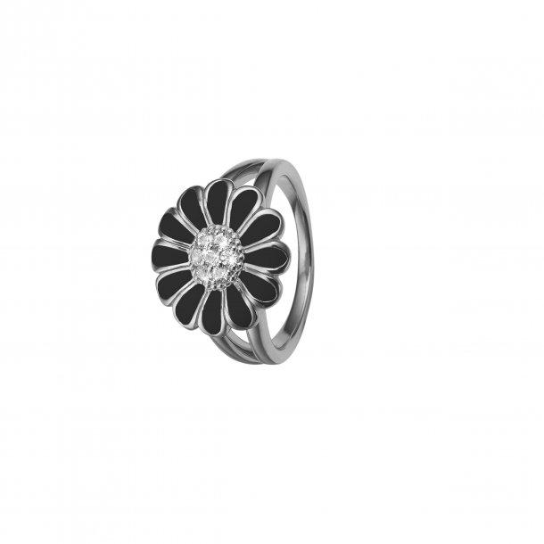 CHRISTINA Black Marguerit ring 16 mm - 4.5A