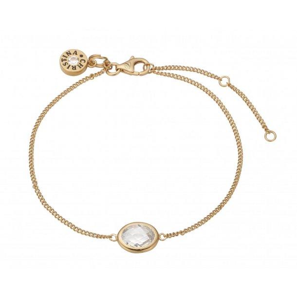 Christina white crystal armbånd forgyldt  - 601-G03-WHITE