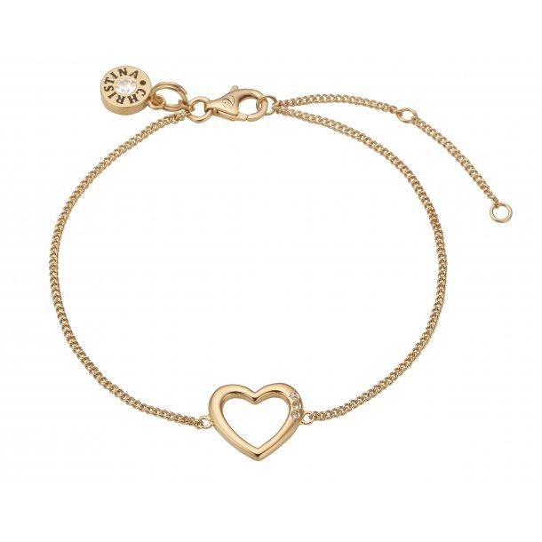 Christina open heart forgyldt armbånd - 601-G10