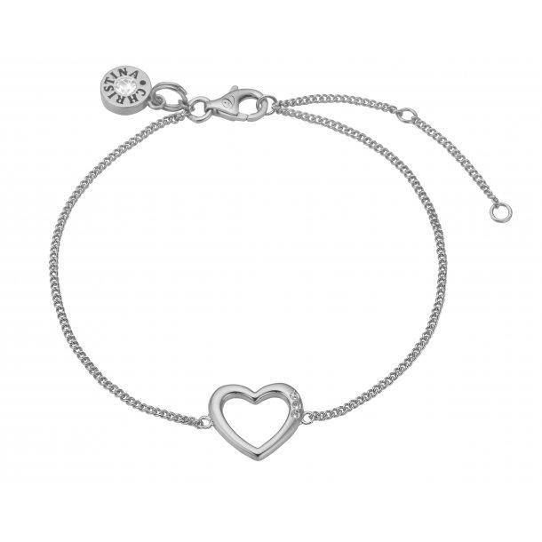 Christina open heart sølvarmbånd - 601-S10