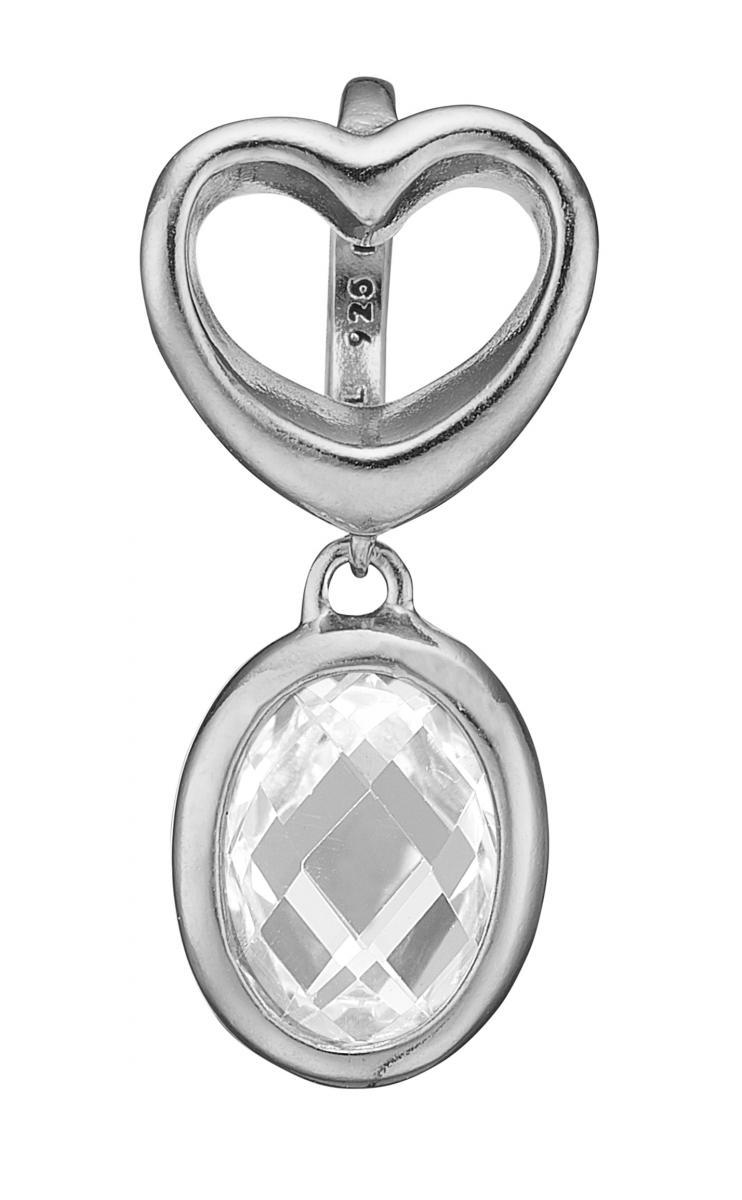 Christina open heart crystal sølv charm - 610-S63WHITE
