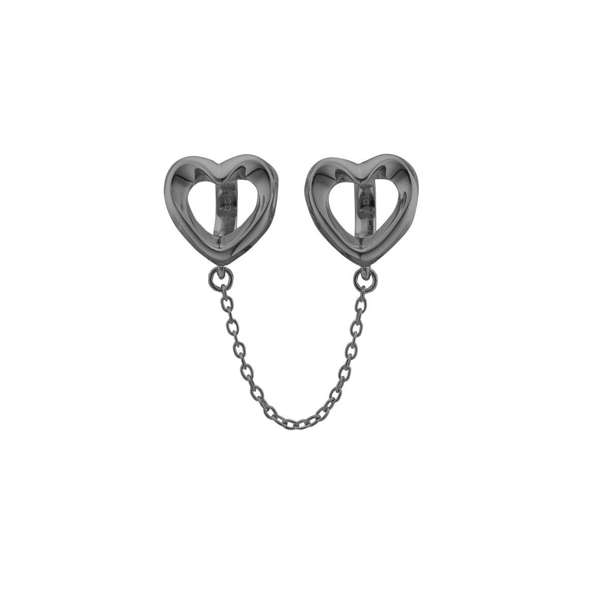 Christina safety hearts charm black - 630-B99