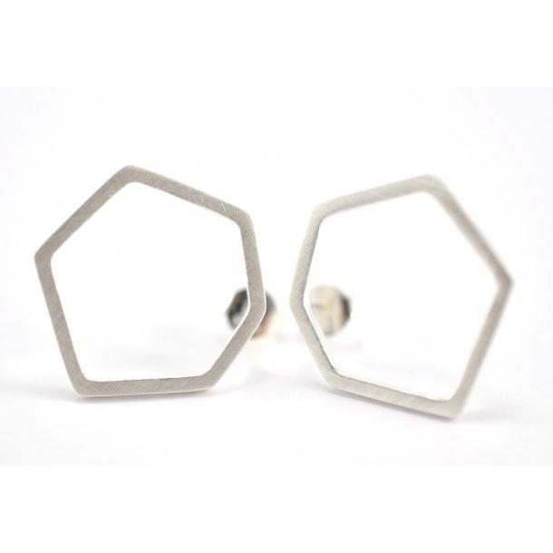 Enamel Sølv ørestikker hexagon - E7S