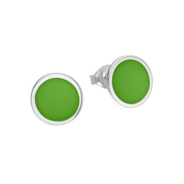 Enamel sølv ørestikker med grøn emalje - ECRSK1027925S