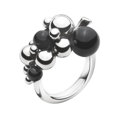 Georg Jensen MOONLIGHT GRAPES ring med onyx - 3559060 200002860053 Sort onyx / S 53
