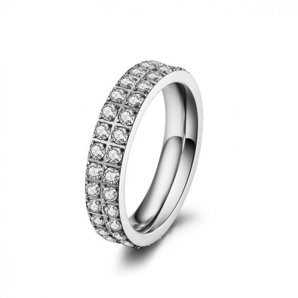 Stål ring med zirkonia - 1401123