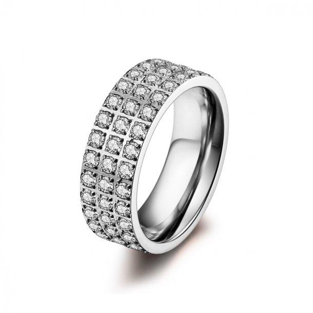 Stål ring med zirkonia - 1401133