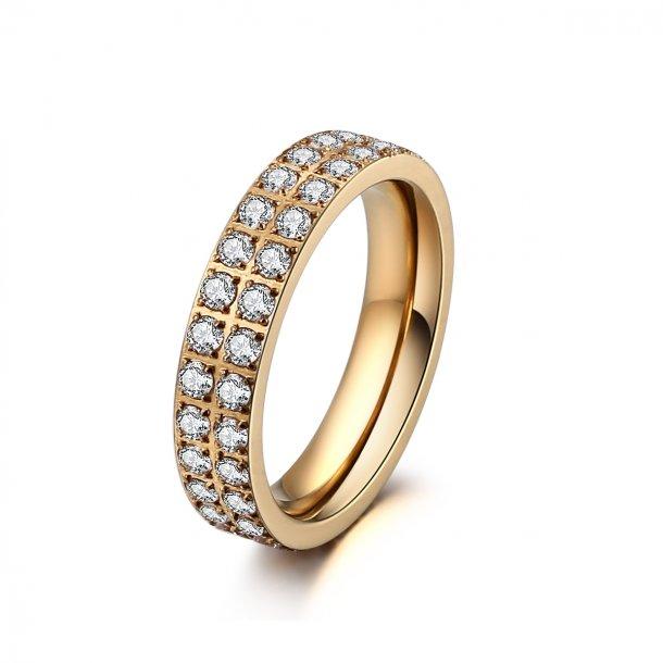 Forgyldt stål ring med zirkonia - 1402123