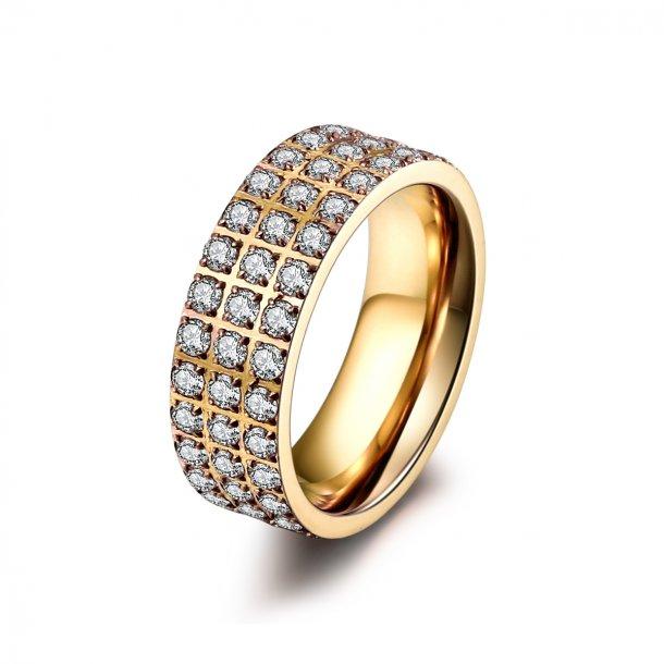 Forgyldt stål ring med zirkonia - 1402133