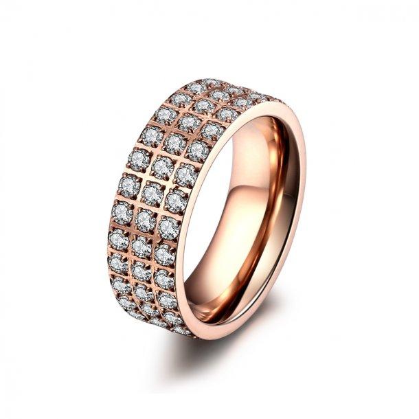 Rosaforgyldt stål ring med zirkonia - 1403133