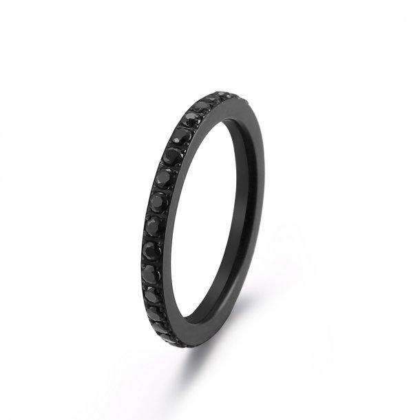 Sort stål ring med zirkonia - 1404113